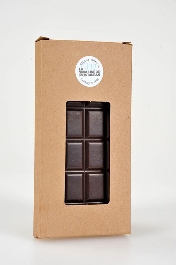 Tablette chocolat noir et spiruline par Spiruline de Montauban